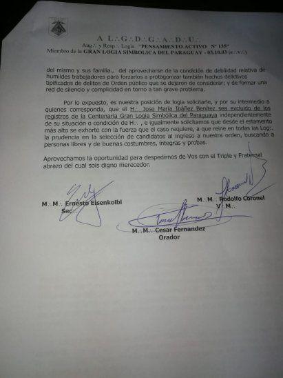 Masones piden mediante una nota que Ibáñez sea excluido.
