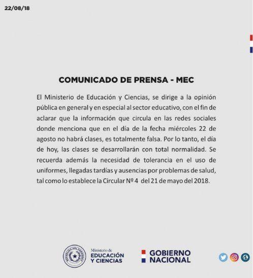 El comunicado oficial del Ministerio de Educación y Cultura (MEC).