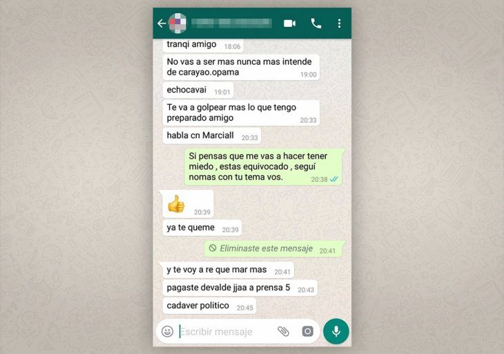 Supuestas amenazas de Edgar Cáceres a Eliodoro Giménez.
