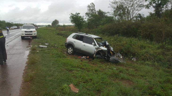 Así quedó uno de los vehículos involucrados en el accidente de tránsito.