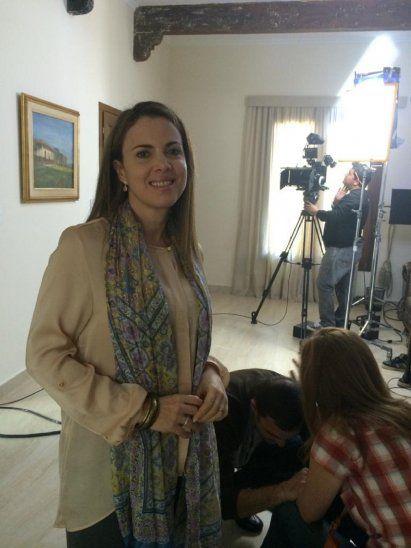 Claudia Scavone en el set de <i>Felices los que lloran</i>.