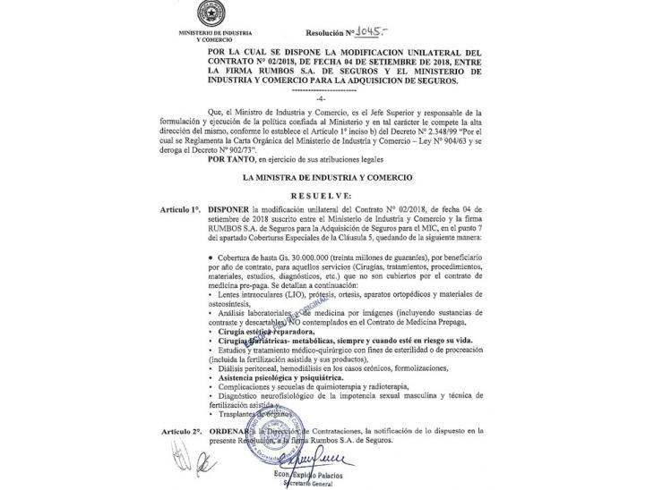 Punto final.  Liz Cramer modificó de forma unilateral el contrato firmado por la empresa Rumbos SA. Los ítems  fueron cambiados.