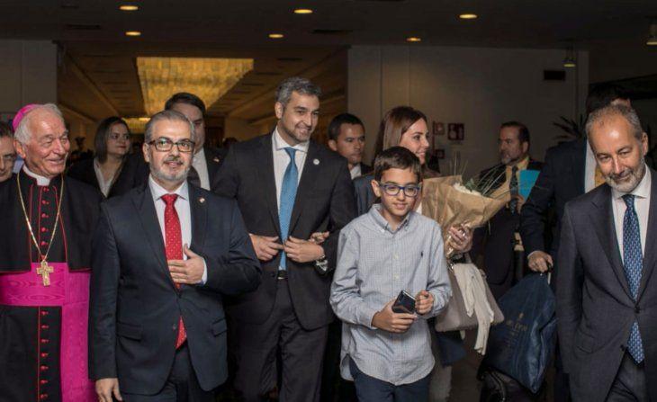 Arribo. El presidente viajó acompañado de su familia y sus colaboradores a Roma