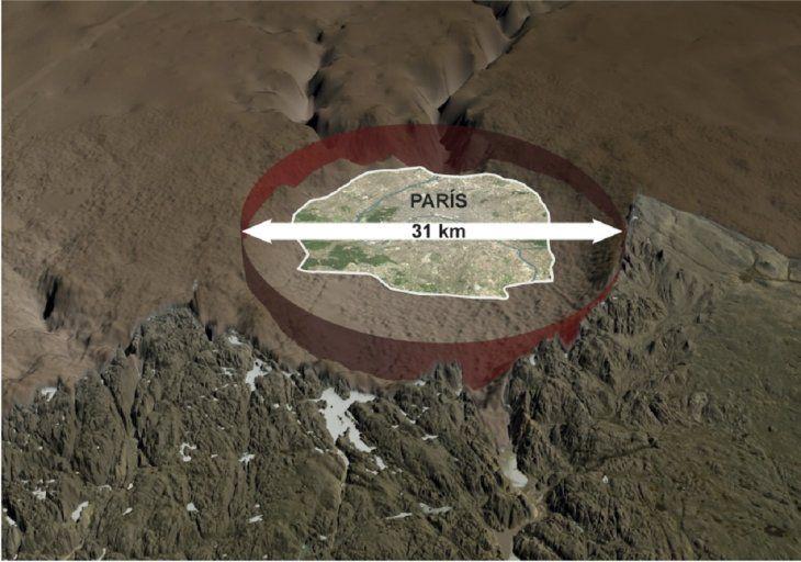 Descubren enorme cráter bajo hielo groenlandés