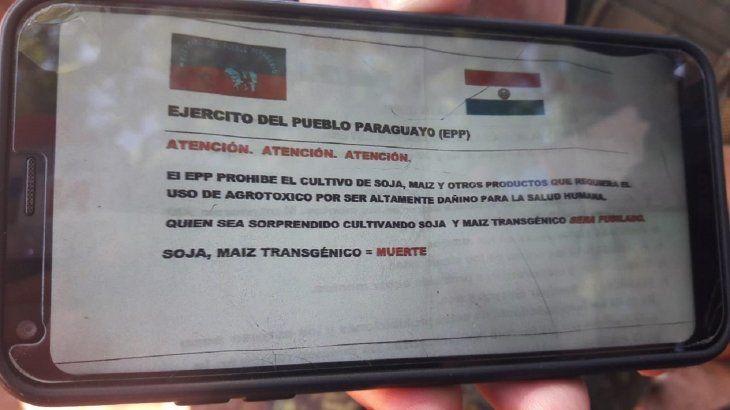 El panfleto del EPP fue hallado cerca de la zona donde habría sido asesinado el colono brasileño.
