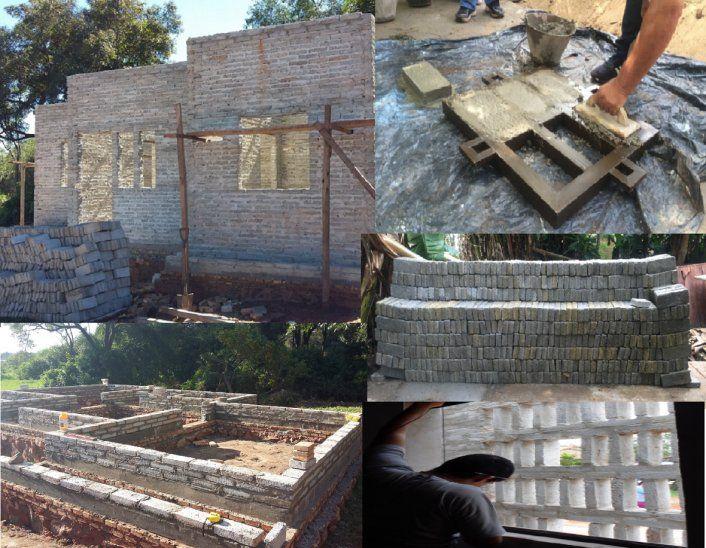 <p></p>Los ladrillos son una mezcla de plástico y cemento. Utiliza mezcla normal para la unión. <p></p>