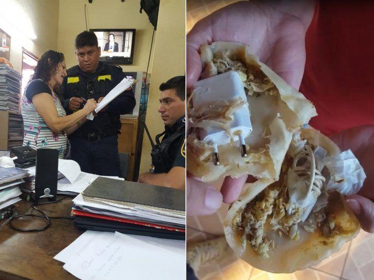 Entre el relleno de carne de las empanadas estaban las partes de un cargador de celular.