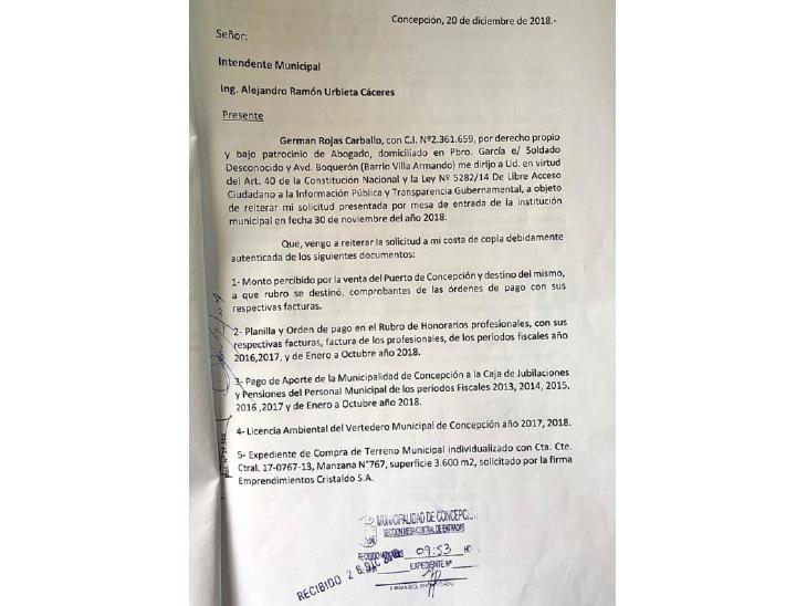 Documento.  En el escrito se le solicitaron  una serie de puntos a Alejandro Urbieta