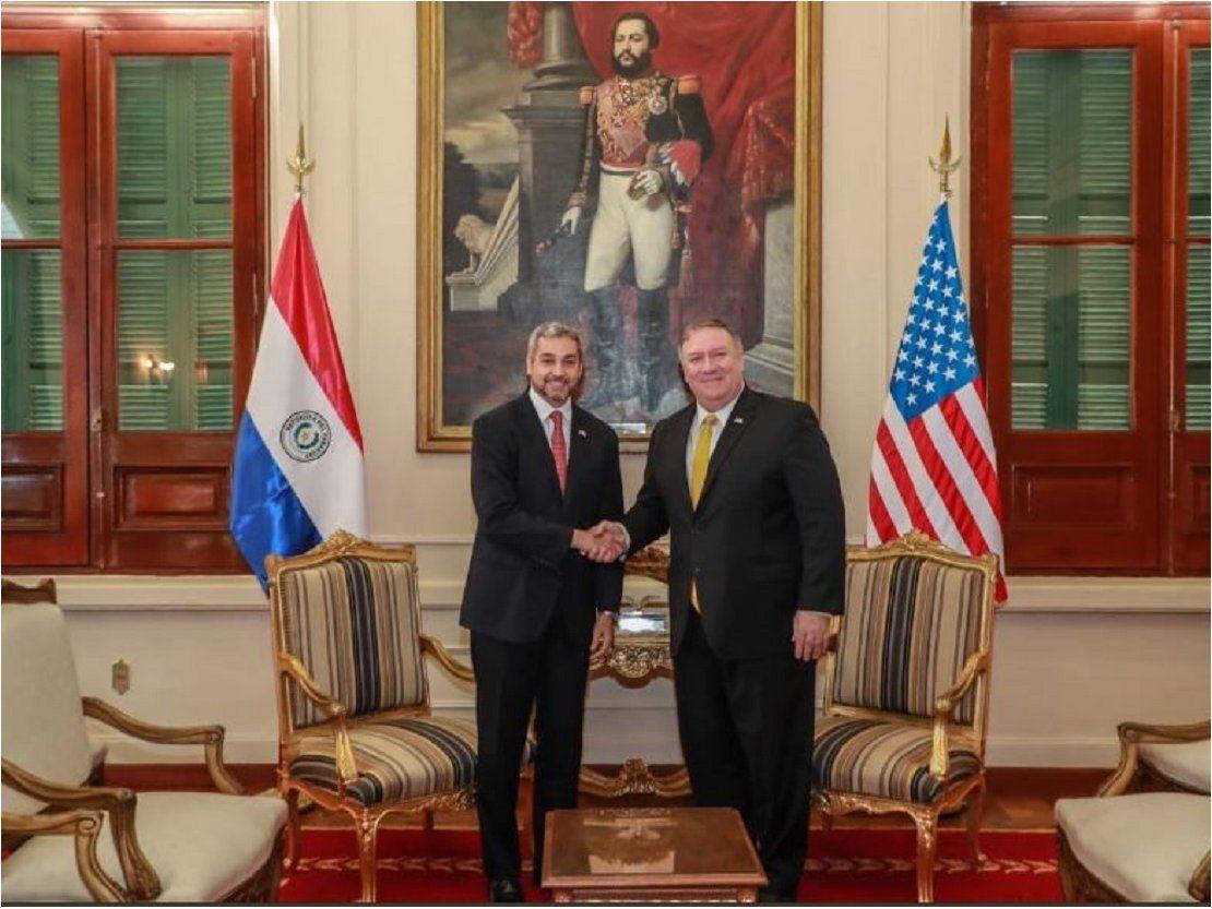 Mario Abdo se reúne con Pompeo en Palacio de Gobierno