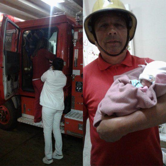 La beba nació en un camión de bomberos