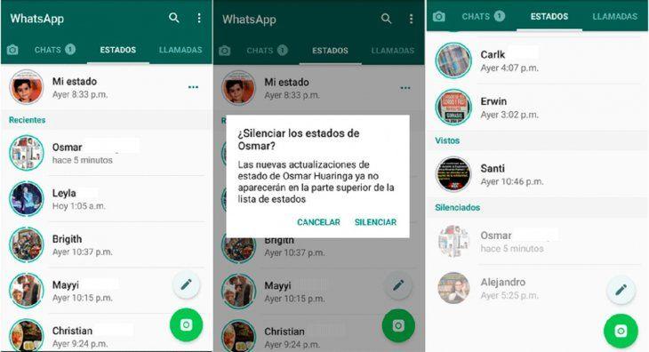 Nueva función en la app te permite ocultar los estados — WhatsApp