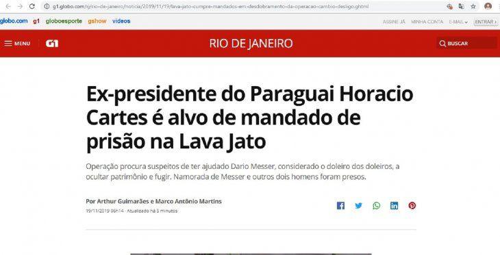Las publicaciones en medios de Brasil sobre Cartes salieron a tempranas horas de este martes.