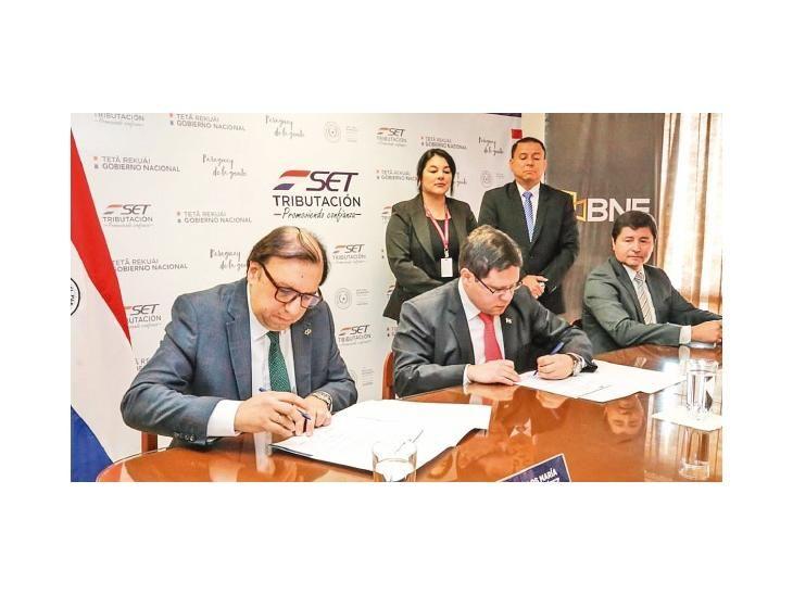 Acuerdo. SET y BNF firmaron un convenio para intercambiar datos y mejorar los controles.