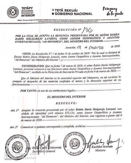 La resolución mediante la cual el ministro del Interior, Euclides Acevedo, aceptó la renuncia de Melgarejo Lanzoni.