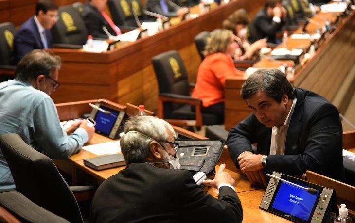 Plenaria. Los senadores del FG Carlos Filizzola y Querey conversan durante la sesión.