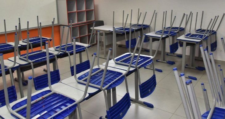 Aulas vacías. Las escuelas permanecen sin alumnos ni docentes.