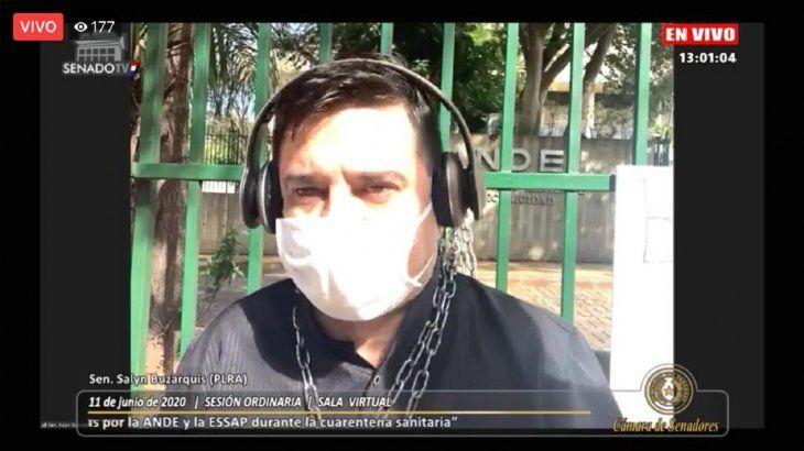 El proyectista Enrique Buzarquis participó en la sesión encadenado desde la sede la ANDE.