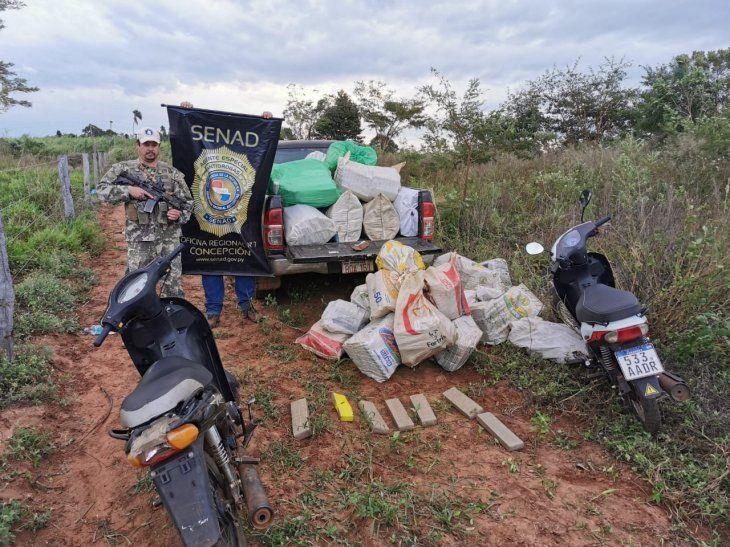 La droga se encontraba en bolsas e iba ser transportada en las motocicletas.