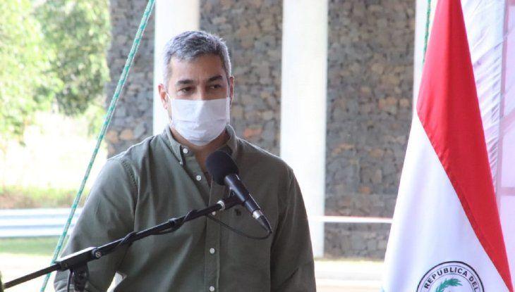 El presidente Mario Abdo durante un acto oficial en San Pedro.