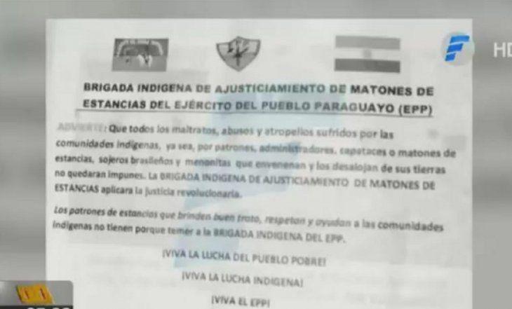 Panfleto que dejó la Brigada Indígena del EPP en la camioneta del ex vicepresidente Óscar Denis.