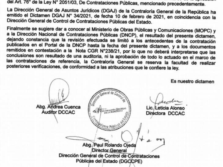 Documentado. La CGR recomendó suspender los pagos relacionados con el llamado.