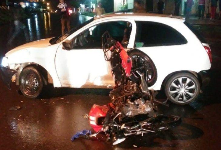 El accidente de tránsito se registró a las 22.30 de este sábado