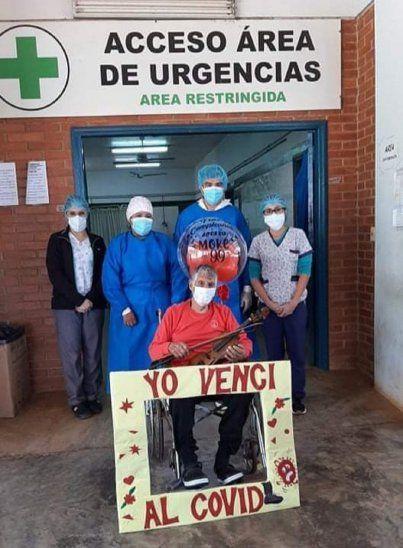Un abuelito de 99 años de edad venció al Covid-19 y obtuvo su alta médica en el Pabellón del Hospital Distrital de Coronel Bogado