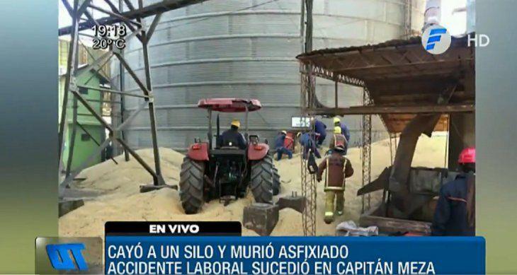 El trabajador murió asfixiado tras ser succionado por el silo con toneladas de soja.