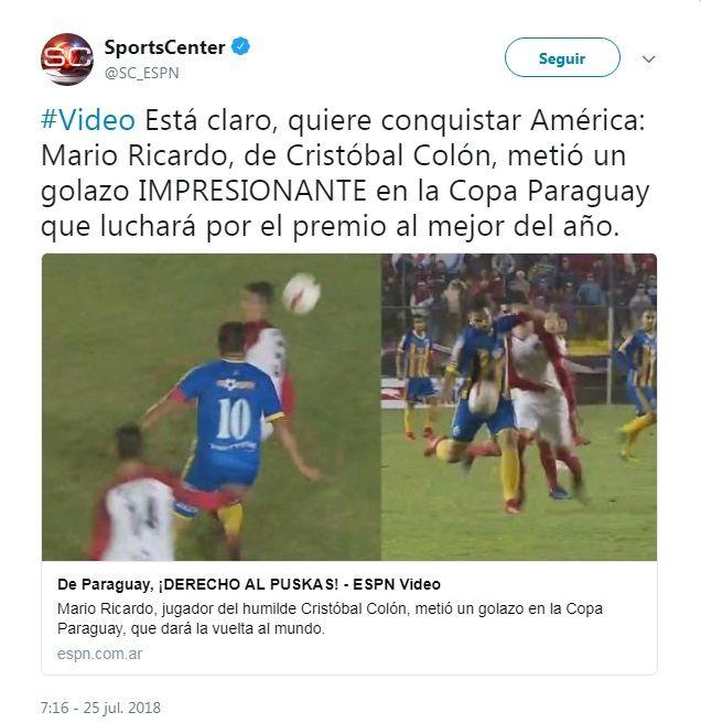 El golazo de Mario Ricardo recorre el mundo
