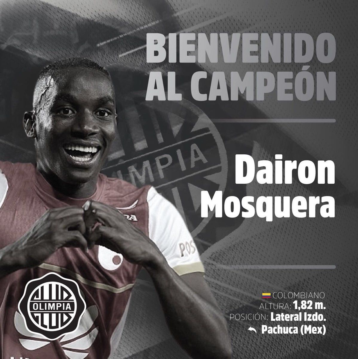 Dairon Mosquera fue presentado en Olimpia. Foto: Olimpia – Prensa