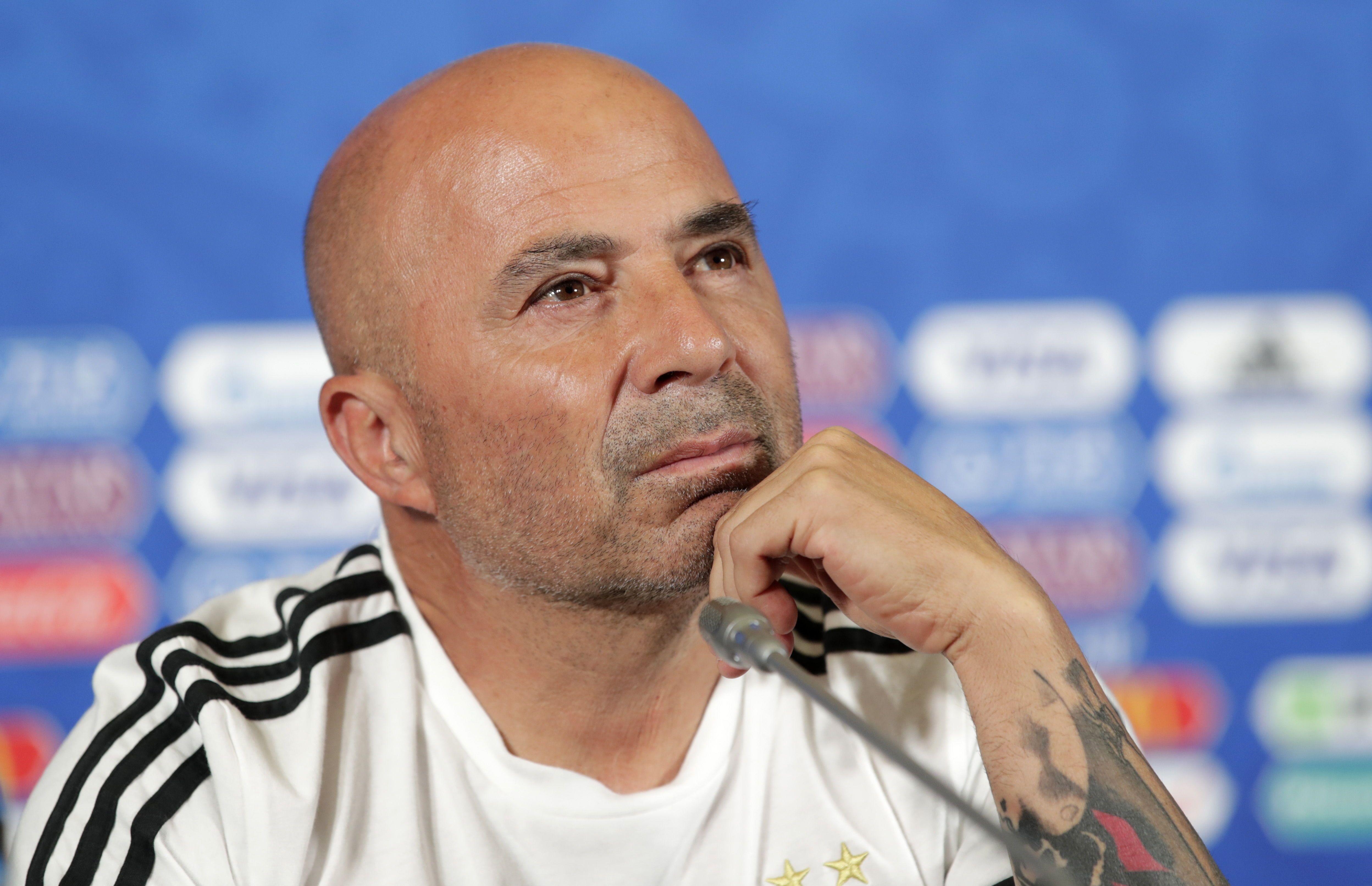 Sampaoli. en rueda de prensa de la selección argentina. Foto: EFE