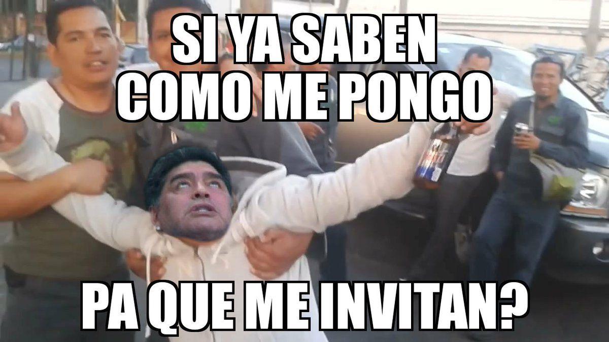 Maradona, protagonista en el palco y las redes sociales