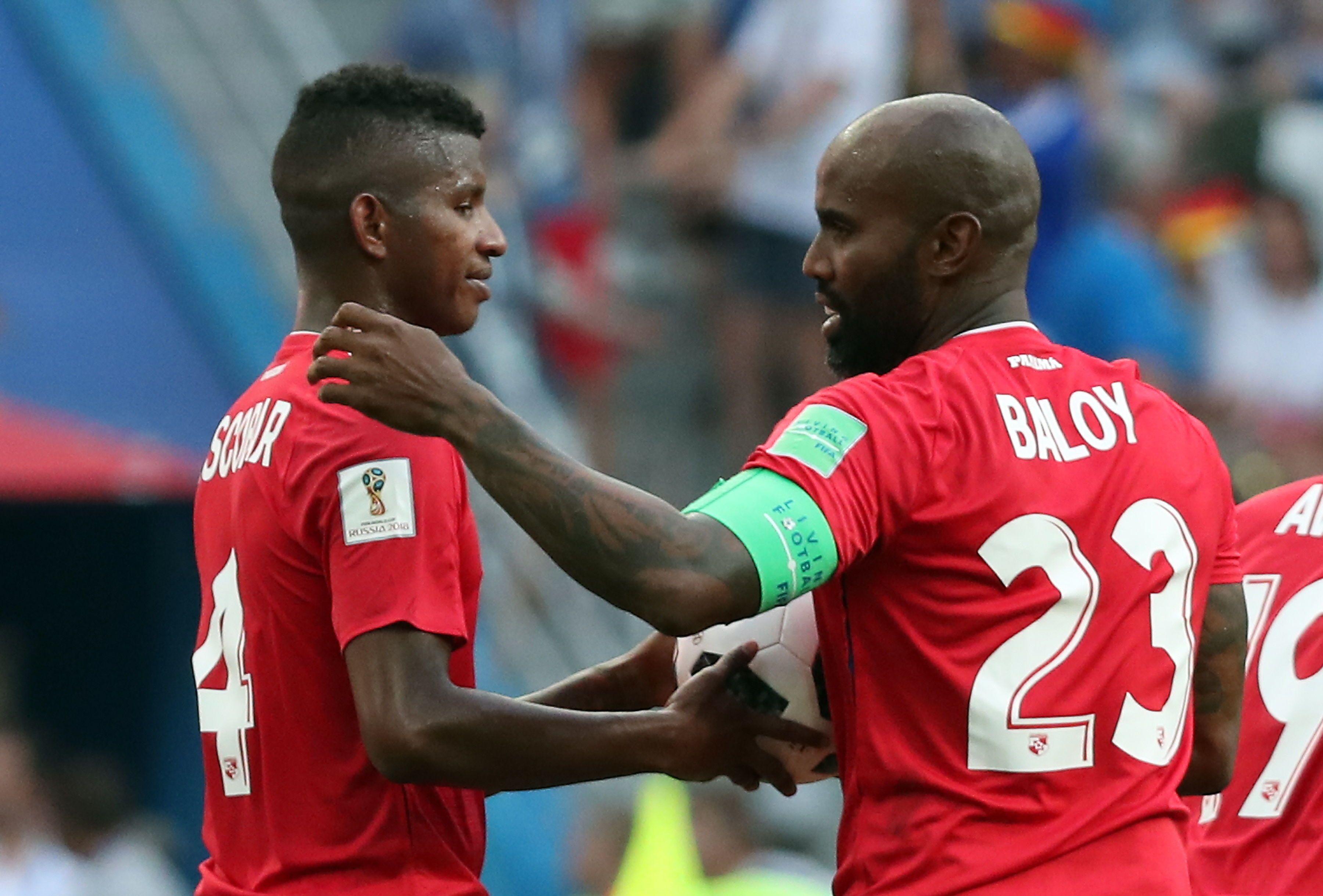 Baloy celebra el primer gol de Panamá en una Copa del Mundo. Foto: EFE