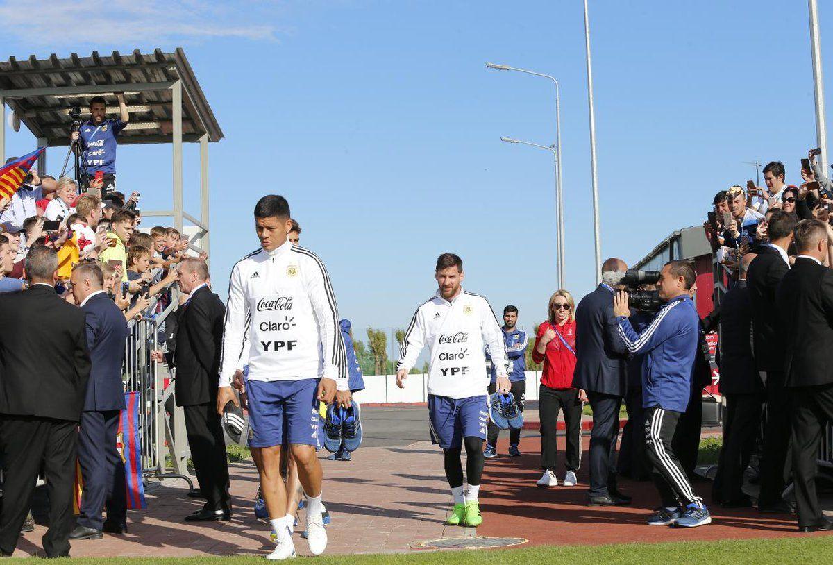 Messi en el entrenamiento albiceleste.