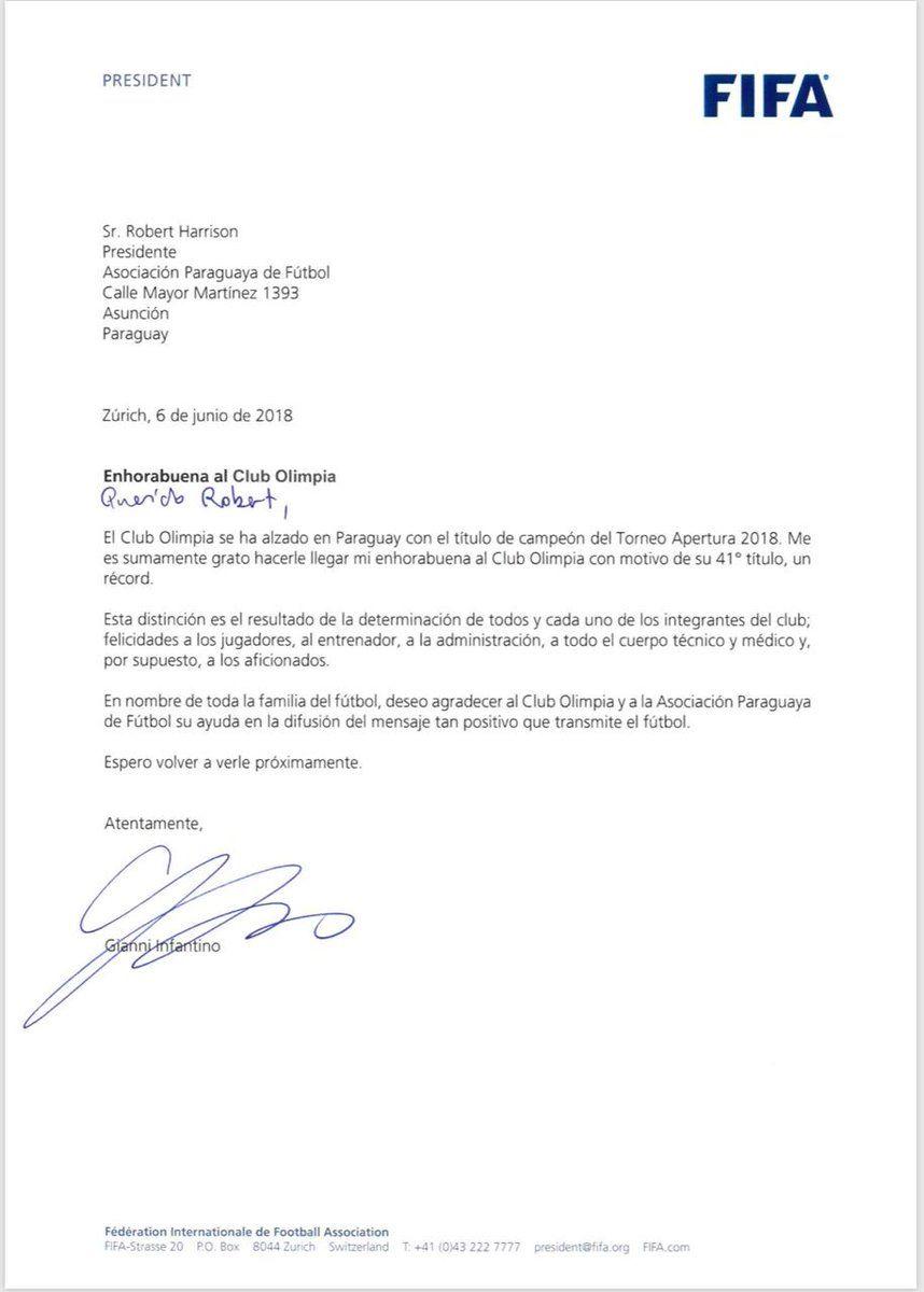 La carta de felicitación de la FIFA al Olimpia por la 41
