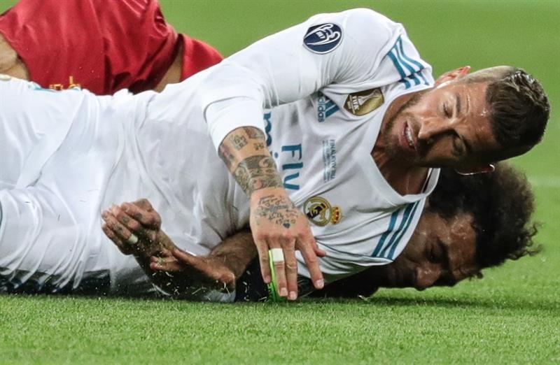 Ramos en una de las escenas durante la final de la Champions League. Foto: EFE