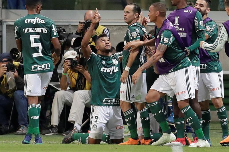 MiguelBorjacelebra su gol ante Junior de Barranquilla. Foto: EFE