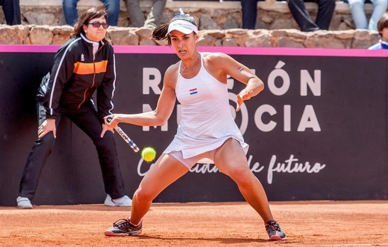 Verónica Cepede durante el partido contra Carla Suárez. Foto: EFE
