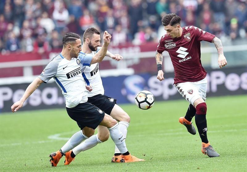El Inter cae ante el Torino y ve peligrar su cuarta plaza. Foto: EFE