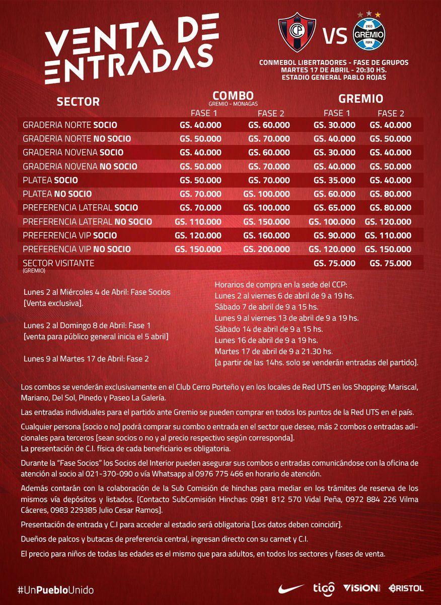 Será un infierno: Precios de entradas para Cerro-Gremio