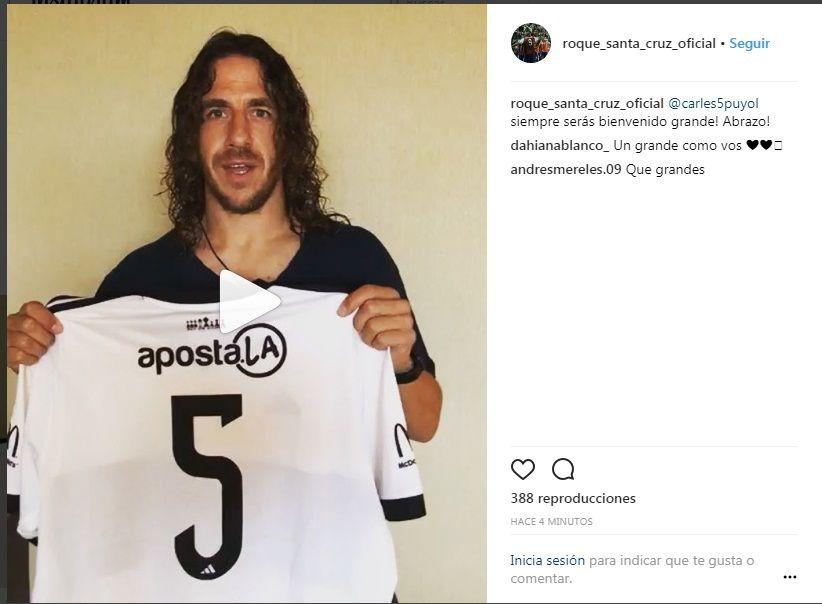 Puyol agradeció a Roque por la camiseta de Olimpia