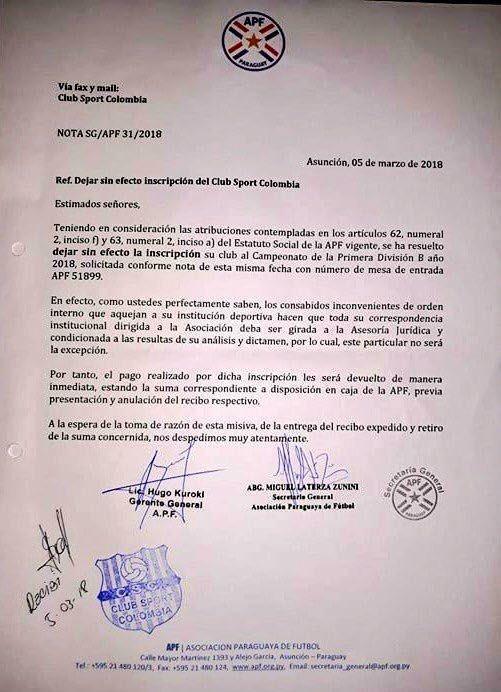 APF rechaza inscripción de Sport Colombia a Primera B