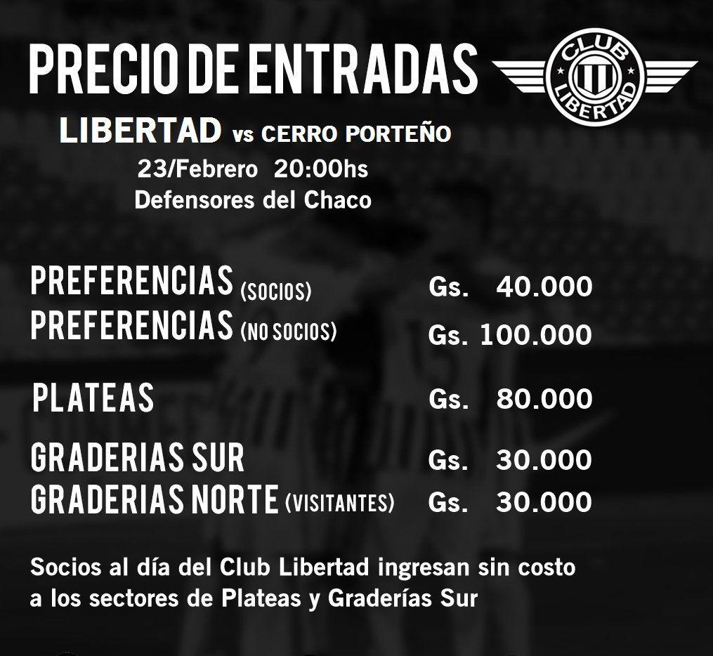 Precios de entradas para Libertad vs. Cerro Porteño
