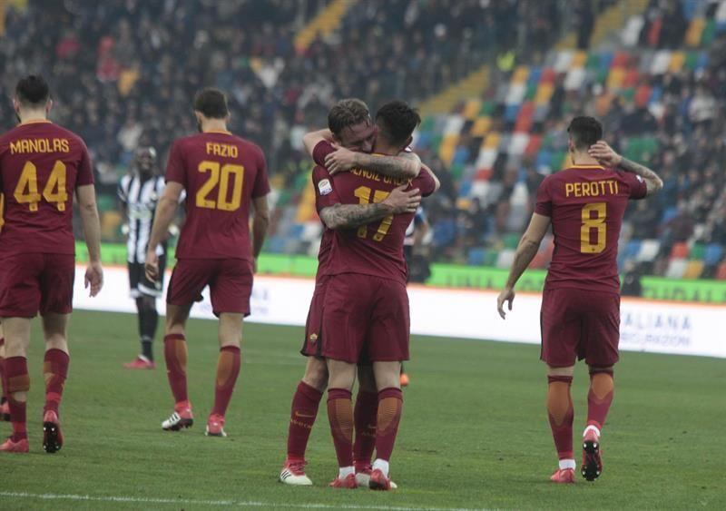 Roma gana en Udinese y alcanza momentáneamente la tercera plaza. Foto: EFE
