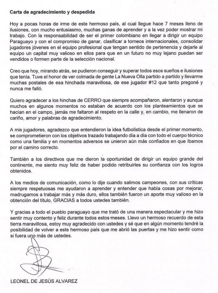 La carta de despedida de Leonel Álvarez