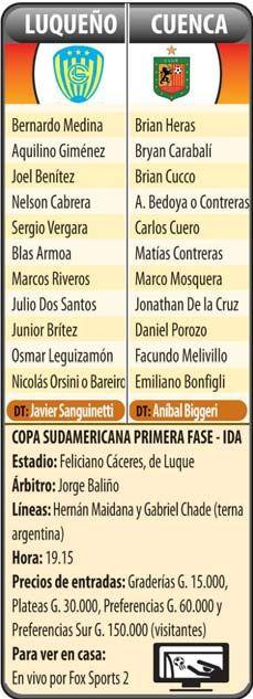 Por sanar las heridas: Luqueño debuta en la Sudamericana