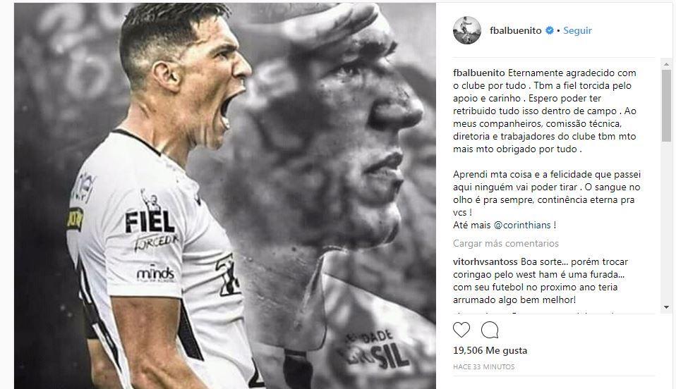 El paraguayo se va agradecido del Corinthians. Foto: Captura.
