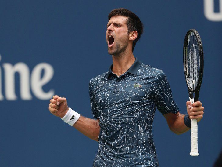 Novak Djokovic celebra durante un partido.