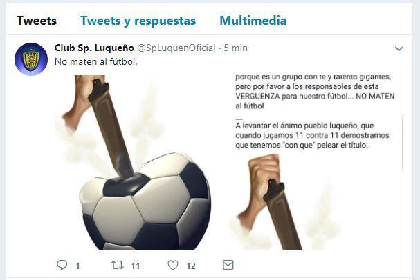 Sportivo Luqueño se quejó a través de las redes. Foto: Prensa Luqueño