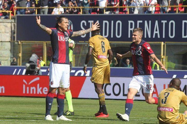 Santander celebra su anotación frente al Udinese.